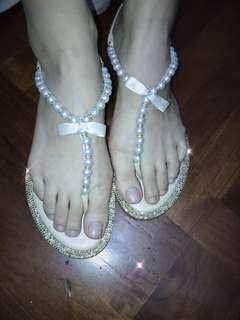 Rene caovilla champagne pearls sandals