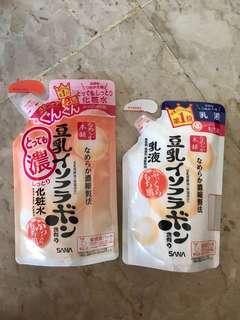 Japan SANA Nameraka Honpo Soy Milk Moisturizing Skin Toner and Emulsion