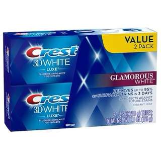 2 x Crest 3D White Luxe Glamorous White Teeth Whitening Vibrant Mint Toothpaste 3.5oz