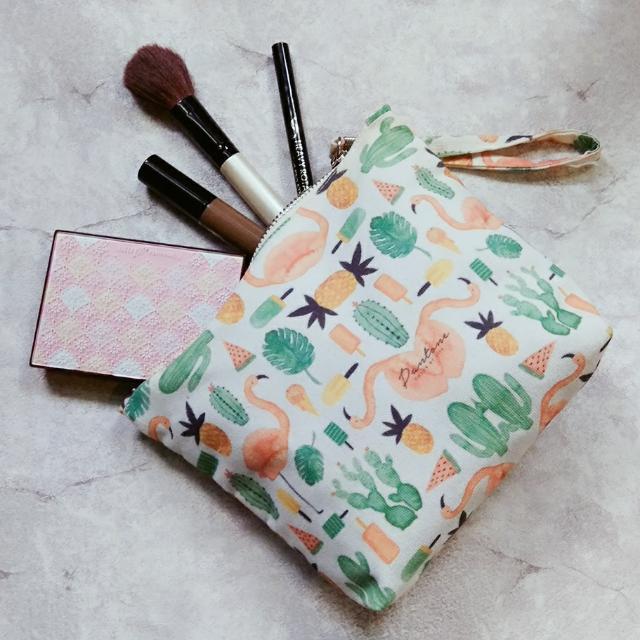 熱帶風情紅鶴帆布化妝包/外出小包
