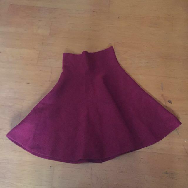復古酒紅針織短圓裙