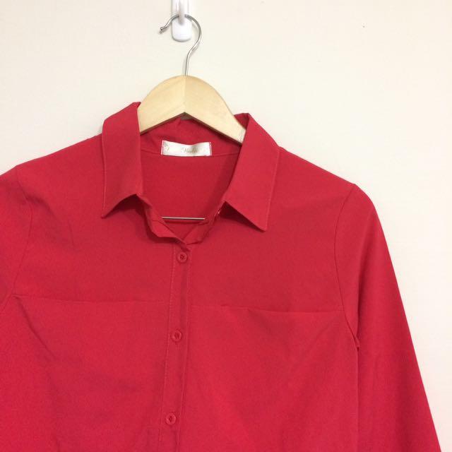 全新🌸絲質玫紅襯衫