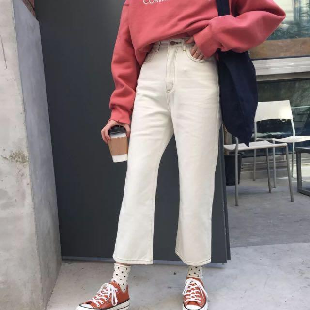 米白色直筒牛仔褲♡