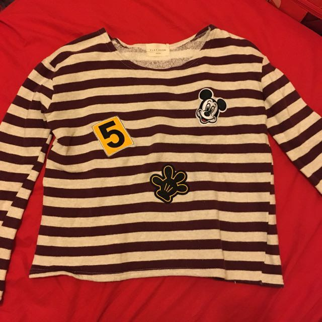 韓製條紋內刷毛上衣 米奇