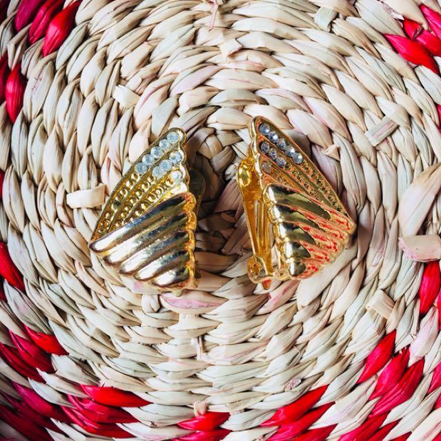 古典 金飾 夾式/針式耳環