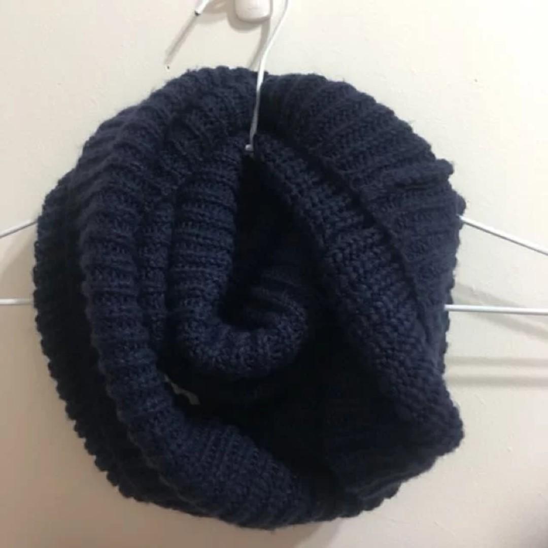 圍脖 深藍色圍巾 針織圍巾