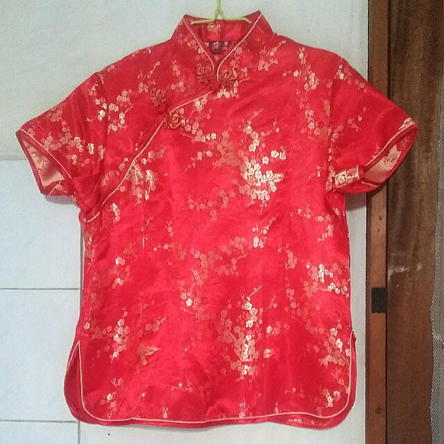 ♻ Blouse Cheongsam Red -Gold