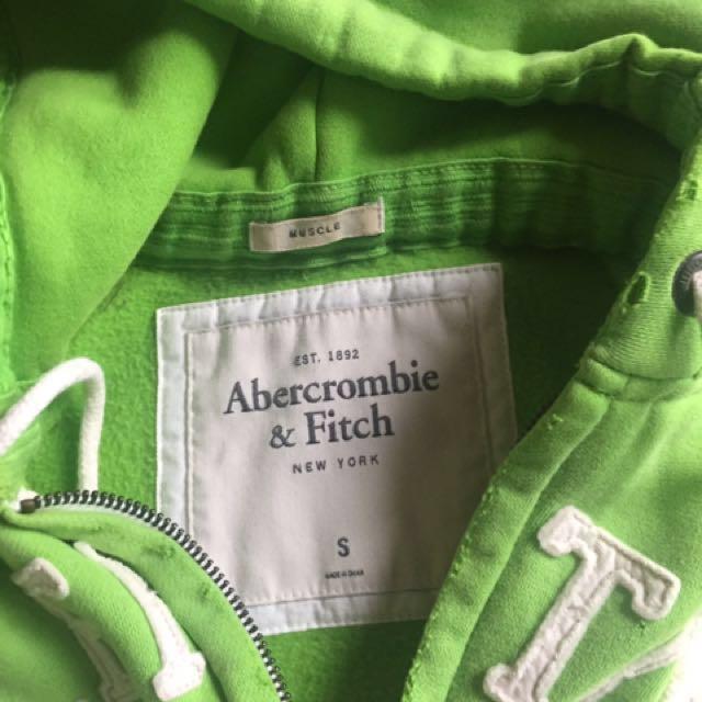 A&F綠色連帽外套
