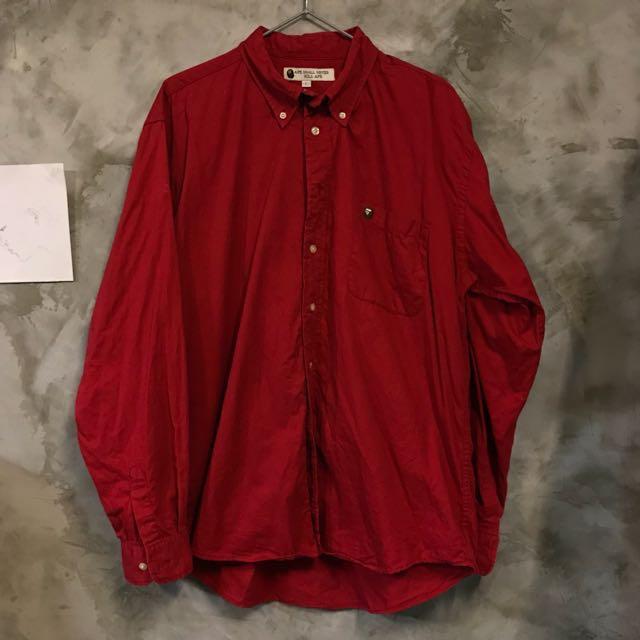 APE 純棉紅色button down 長袖襯衫 size:L 男女皆可 肩寬:53 胸寬63 全長80公分 9成新