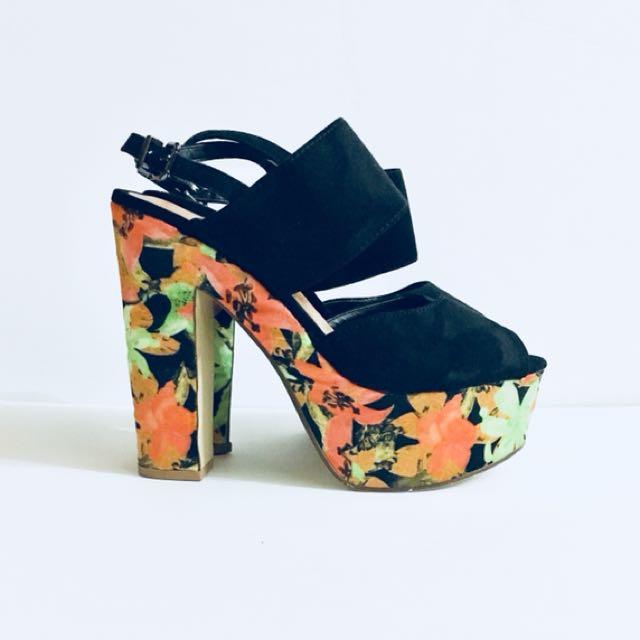 Atmosphere Platform Heels, 90s, Floral Satin heel with Black Suede uppers Sandals, Size 38 Size 6
