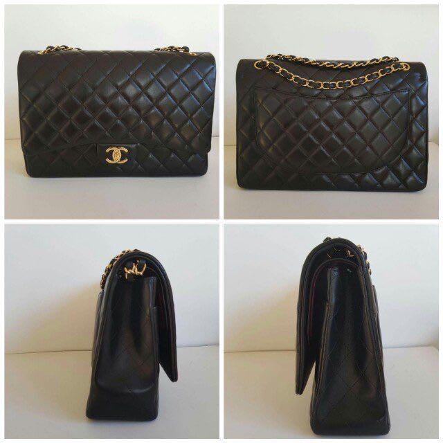 Authentic CHANEL black gold hardware Maxi classic flap bag