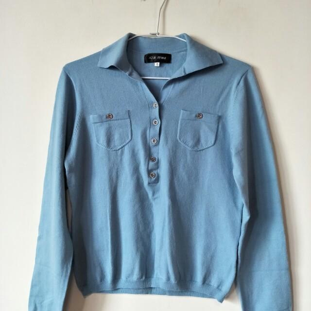 全新azur femme 藍色羊毛上衣,36肩寬42胸寬50衣長