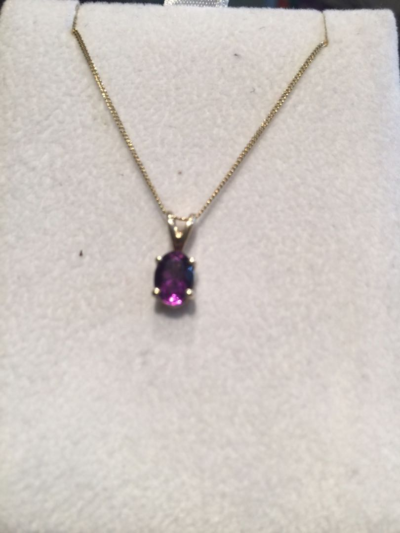 BN Genuine Amethyst 10k gold pendant with 925 layover gold chain 10""