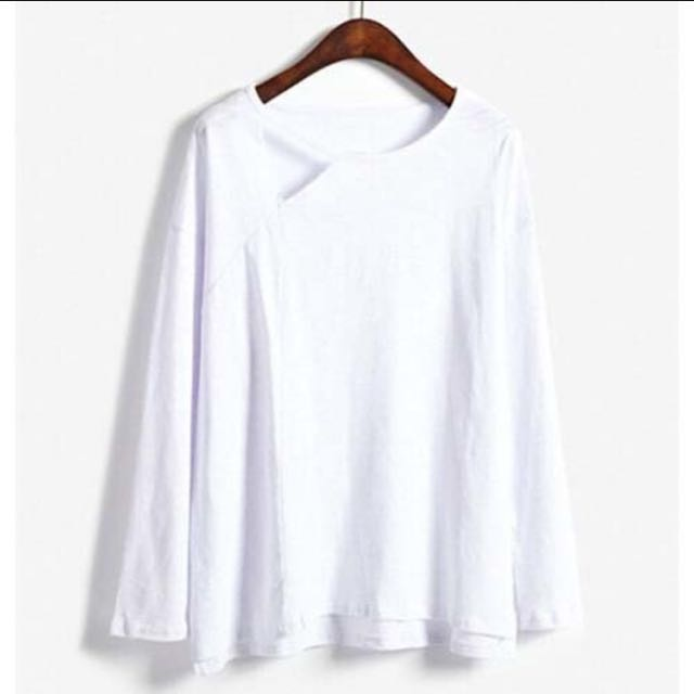 42f1dfdd26e1a3 BN White Casual Loose Style Cut Out Korean Basic long sleeve tee ...