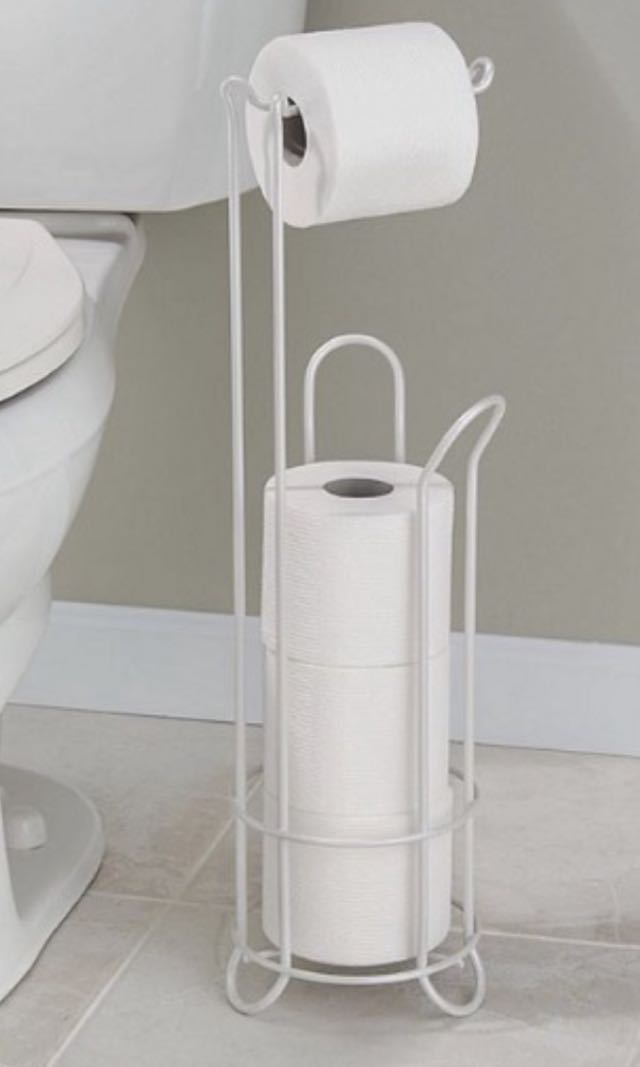 Brand New InterDesign Standing 3-Roll Toilet Paper Holder Plus in Pearl White