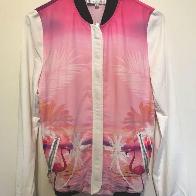Brand News Sabo Skirt Flamingo Print Bomber Jacket