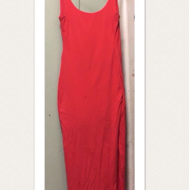Bright Red Maxi Dress with Split - Size 2 (8-10)