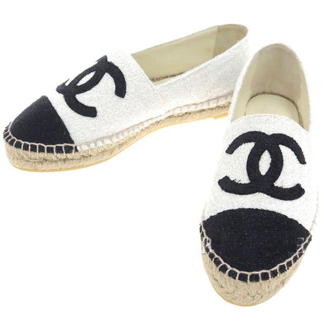 Chanel Espadrilles Silver Black White
