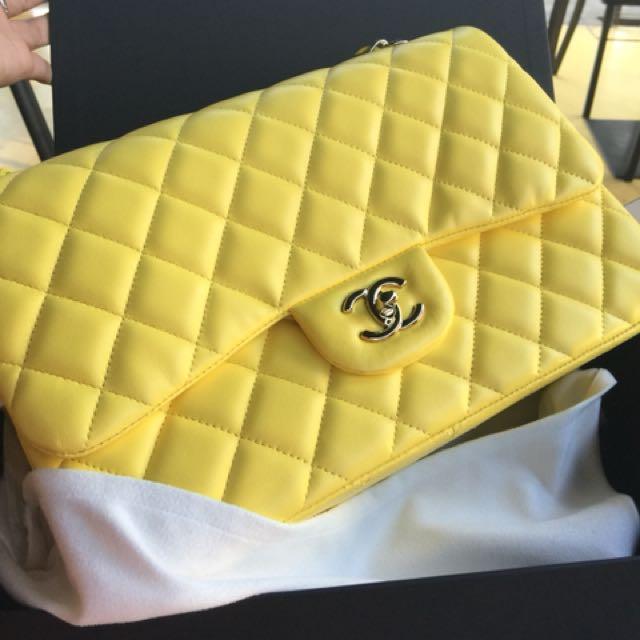 Chanel jumbo yellow lamb