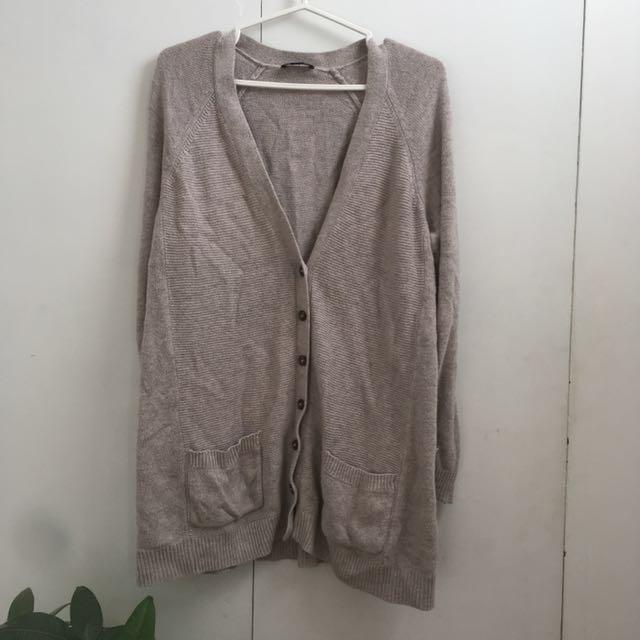 Cotton Beige Button Up Oversized Cardigan