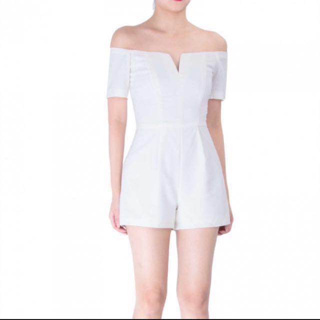 Doublewoot Off Shoulder White Romper Playsuit