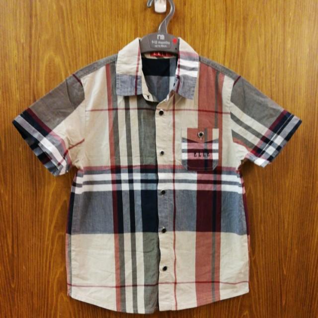 ELLE經典格紋男童襯衫。130公分