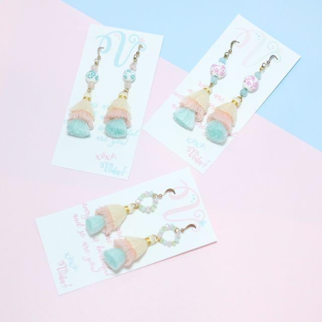 Floral Beaded 3 Tier Tassel Pastel earrings