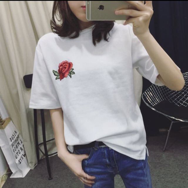 2dd65c96ca1f20 Floral embroidery tshirt, Women's Fashion, Clothes, Tops on Carousell