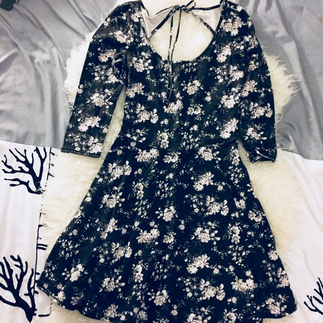 Floral skater dress with open back