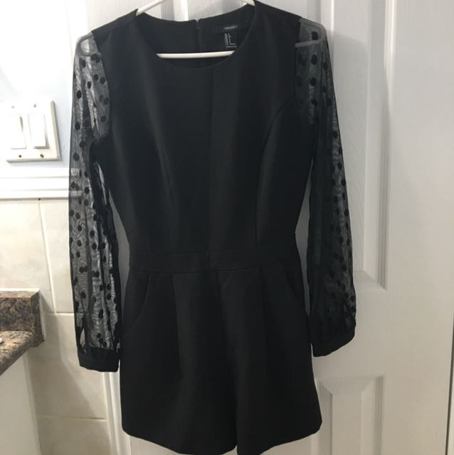 FOREVER 21 Small Black ROMPER WITH LONG NET SLEEVES