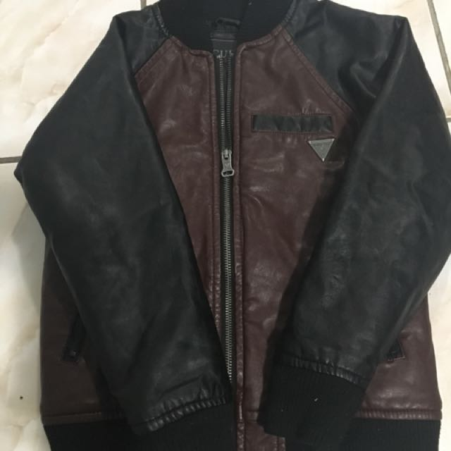 GUESS BROWN  LEATHER JACKET SIZE 7
