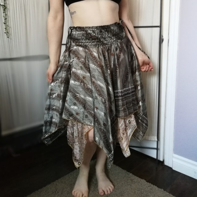 Gypsy Hippie Fairy Skirt M Gold Natural