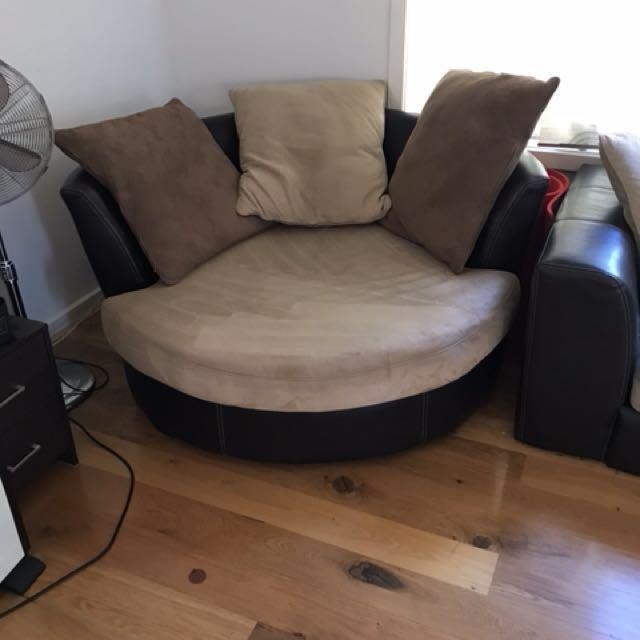 harvey norman brown beige york leather barrel chair home