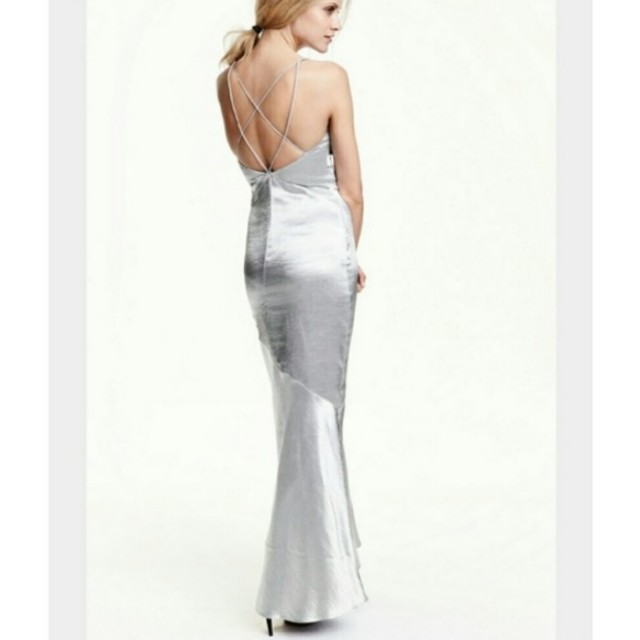 H&M silver satin gown