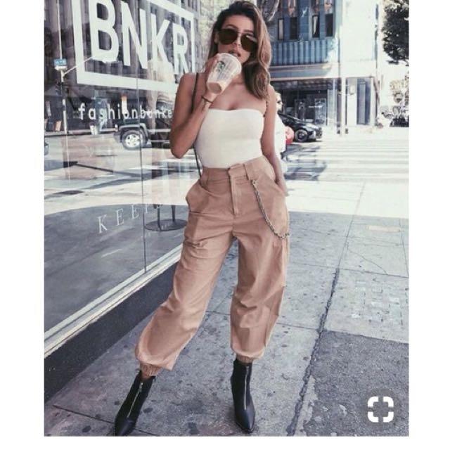 代購歐美超模、IG網紅款帥氣性感鏈條工作褲