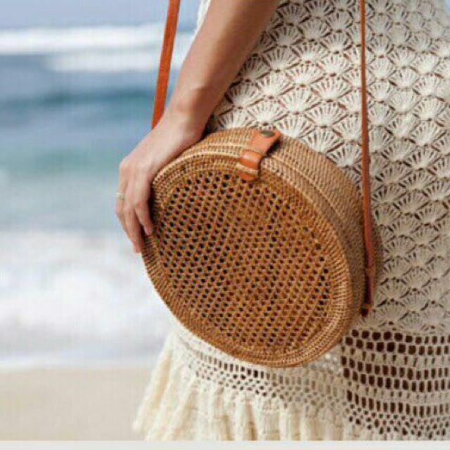 In Stock Round Rattan Honeycomb Patterned Crossbody Long Sling Bag