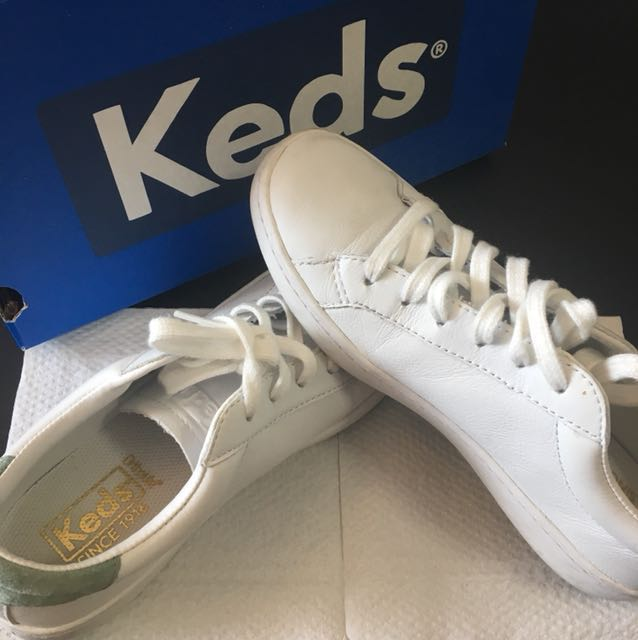 Keds ACE LEATHER WHITE SHOES, Women's