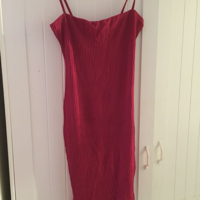 Kookai red ribbed dress size 2