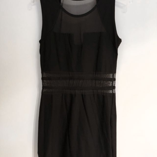 Little Black Dress With Mesh Cutouts Womens Fashion Clothes On