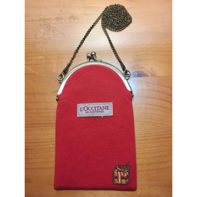 歐舒丹L'occitane耶誕紅復古珠扣帆布包/斜背包/手機包/零錢包