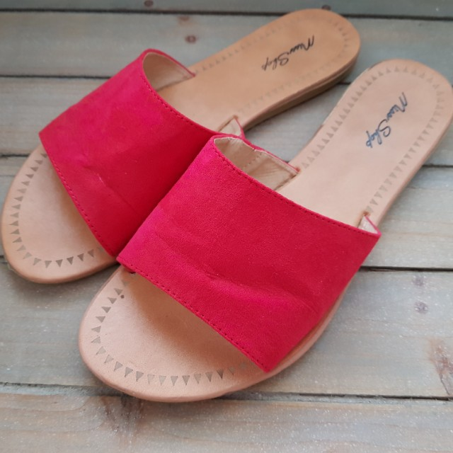 MISS SHOP Frankie Faux Suede Leather Slides in Red - Size 39 8 Sandals