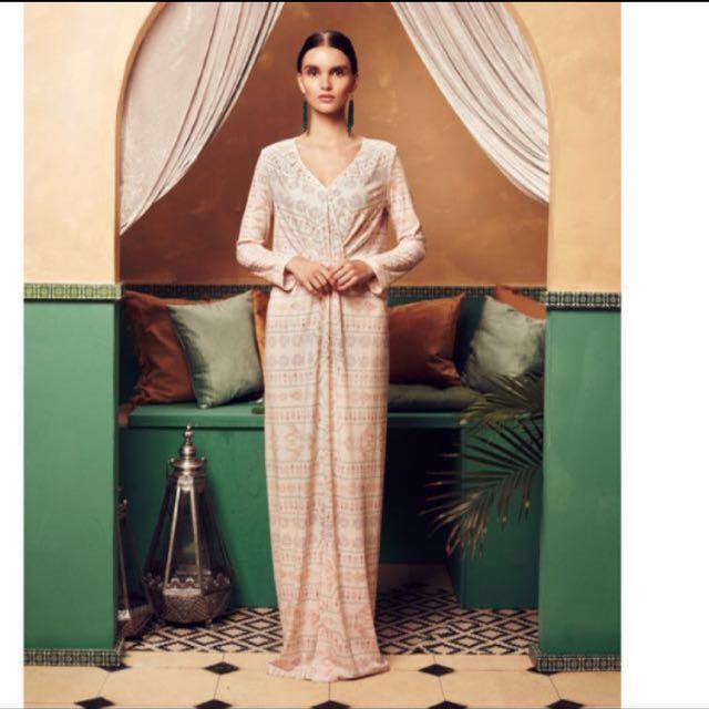 New Mimpikita Exclusive Alena Knot Dress in Beige