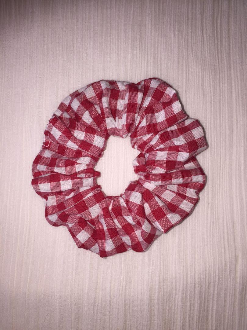 Premium Red and White Gingham Scrunchie