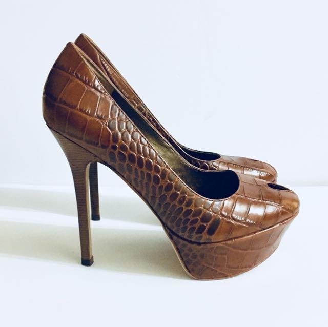 "Sam Edelman Niland Platform Heels. Brown Snakeskin 5"" Heel Size 6"