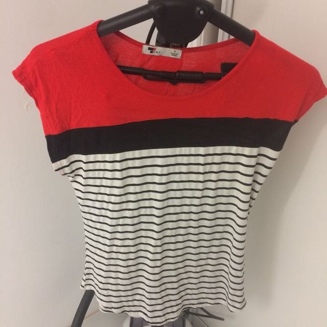 Size Small Temt Black Red white Striped Top