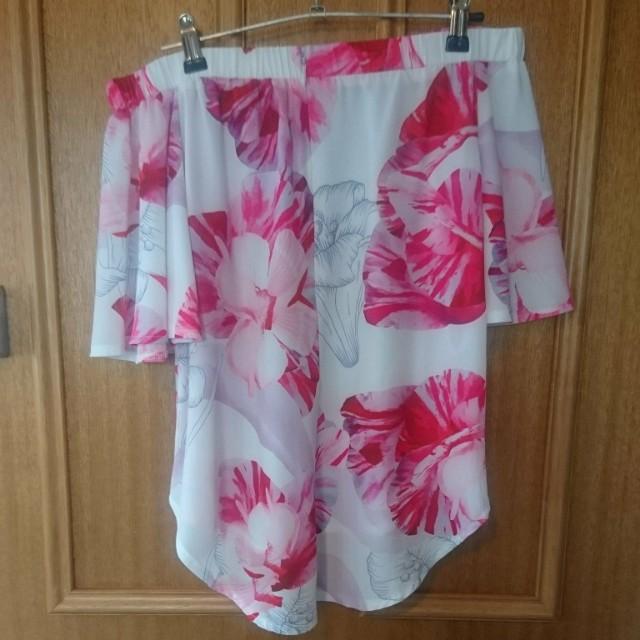 Off the shoulder pastel pink top