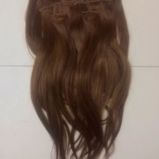 USED ONCE, 18 inch brown hair extensions