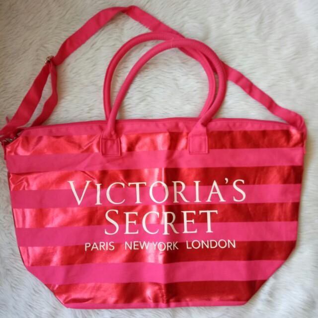 Victoria's Secret Extra Large Metallic Stripe Zip Tote