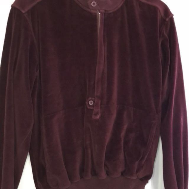 Vintage Christian Dior Velvet Deep Red Burgundy Sweatshirt Top