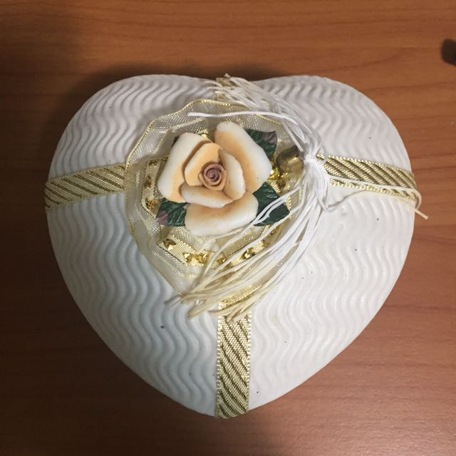 White Jewellery Box with flower detail